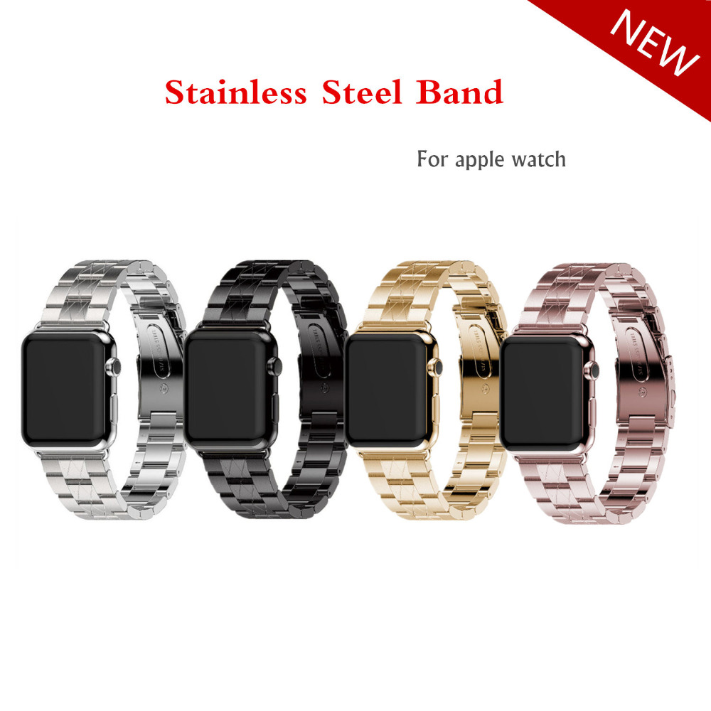 Stainless Steel watchband For Apple Watch band strap 42mm 38mm Link Bracelet metal wrist belt for iWatch 3/2/1 watch Accessories fashion metal stainless steel mesh watch strap for apple watch iwatch wristwatch strap black silver 38mm 42mm replacement