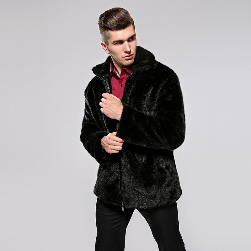 HONGZUO 2017 Neue Ankunft Mode Männer Pelzmantel Mit Kapuze Luxus - Herrenbekleidung - Foto 6