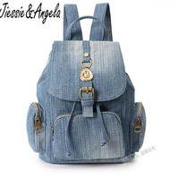 Girls Retro Denim Backpack Fashion Preppy Trendy Style Denim Cotton Women Backpacks Travel Bags School Drawstring