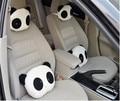 Venta caliente 1 unids Encantador Lindo Asiento Panda Patrón Cuello de La Ayuda Suave Amortiguador Trasero reposacabezas Del Asiento de Coche cubierta