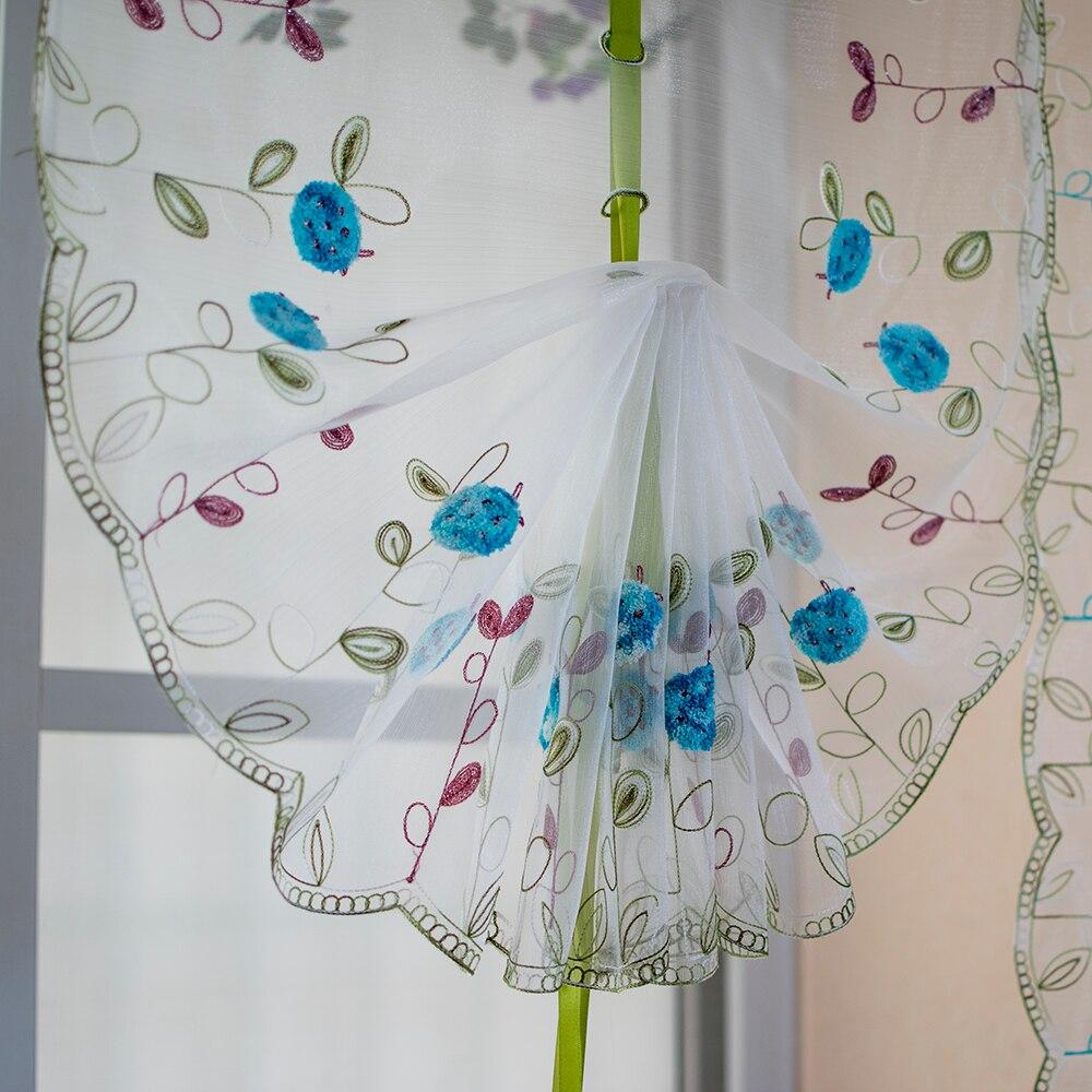 beste kopen organza wol borduurwerk patroon ballon gordijn tule art modeling gordijnen keuken slaapkamer woonkamer raam decoratieve goedkoop