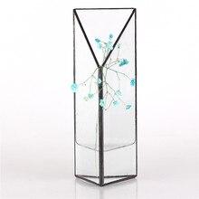새로운 삼각형 기하학적 수경 유리 Terrarium 상자 수생 식물 프리즘 유리 꽃병 정원 물 냄비 관수 꽃 냄비