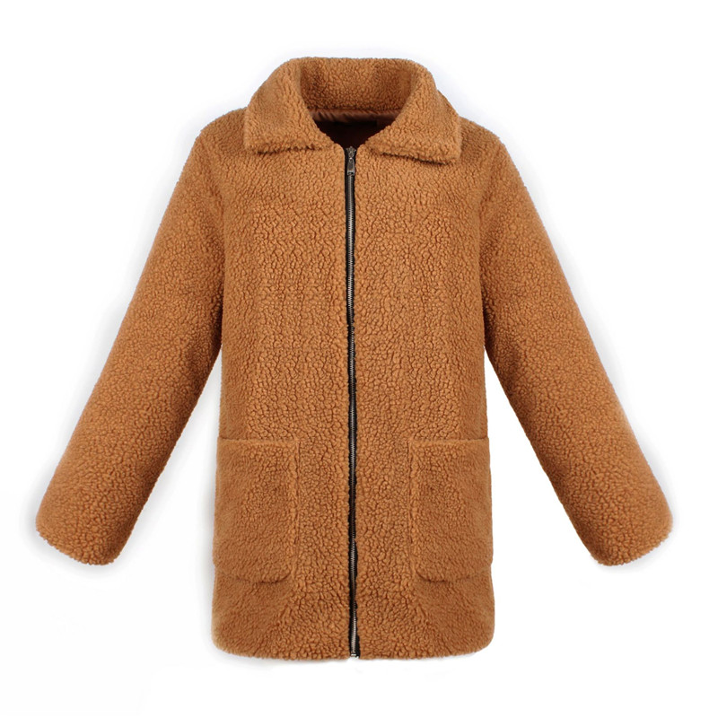 Europe and the United States street photo lapel imitation fur plush coat multi-color long wool coat (10)