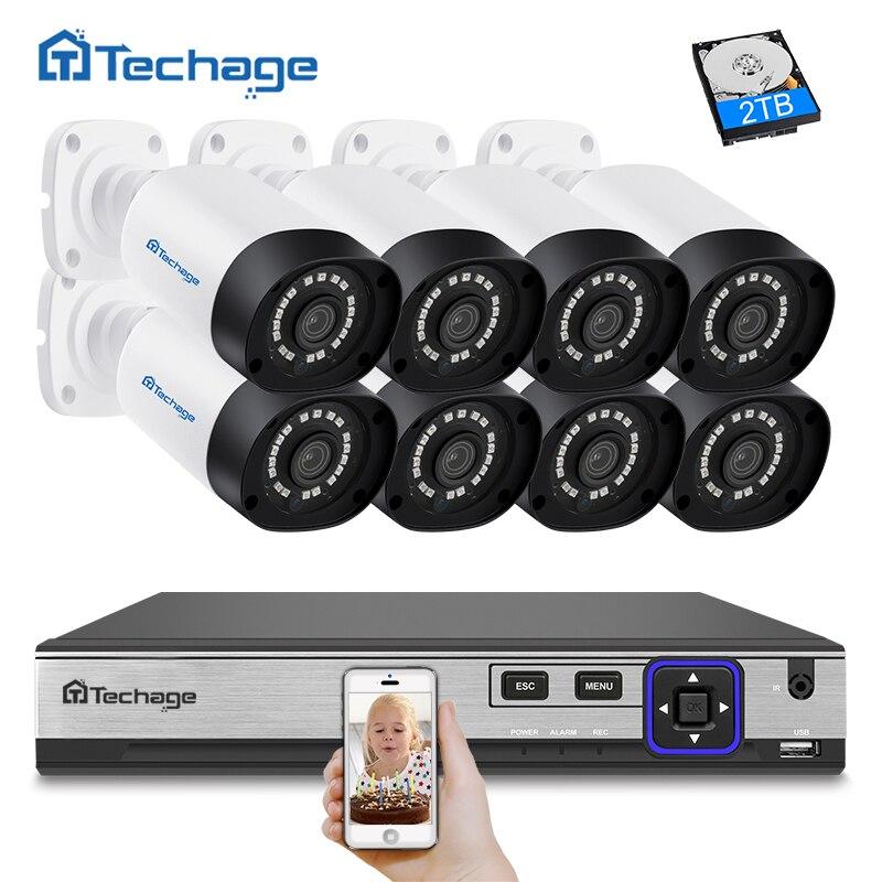 Techage H.265 8CH 4MP 4MP POE NVR Kit CCTV Sistema de Câmera Ao Ar Livre À Prova D' Água Câmera IP POE P2P de Vigilância De Segurança De Vídeo kit