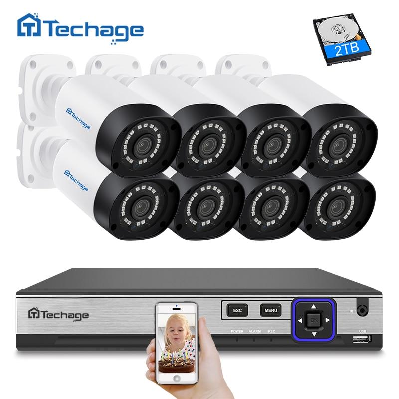 Techage H.265 8CH 4MP CCTV Камера Системы POE NVR комплект открытый Водонепроницаемый 4MP POE IP Камера P2P видеонаблюдения комплект