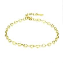 Heart Chain Bracelet Genuine Sterling Silver 925 Heart-shape Simple Link Bracelet Female Fine Jewelry Gifts SCB135 wholesale couples silver heart shape chain design bracelet h367