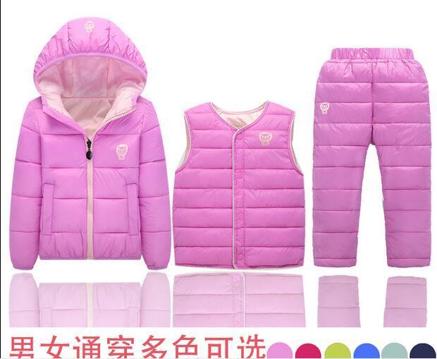 2016 fábrica de China Rusia invierno Parka chaquetas de relleno + pantalones + ropa de abrigo juegos para niños traje de esquí, reima bebé traje para la nieve
