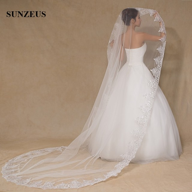 Sluier Long Veil Wedding Accessories 3M Bridal Mariage Veils Veu De Noiva Longo PJ026