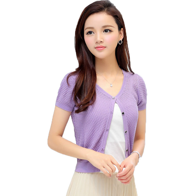 Women Classy Short Sleeve Knitted Bolero Sweater Girls Chic Thin ...