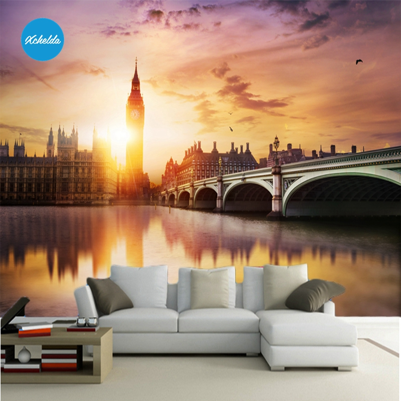 XCHELDA 3D Mural Wallpapers Custom Painting London Evening Design Background Bedroom Living Room Wall Murals Papel De Parede custom 3d wall murals wallpaper luxury silk diamond home decoration wall art mural painting living room bedroom papel de parede