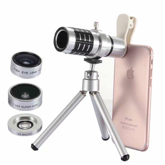 Mobile Phone Lens Lentes Far Distance 12X Zoom Telephoto Lens+15X Macro+0.36X Wide Angle lens+195 Fish Eye Lens for Smartphone|Mobile Phone Lens| |  - title=