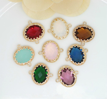 4PCS 24K Champagne Gold Color or Silver Brass with Oval Shape Colourful Glass Beads 2 holes Connect Charms Accessories
