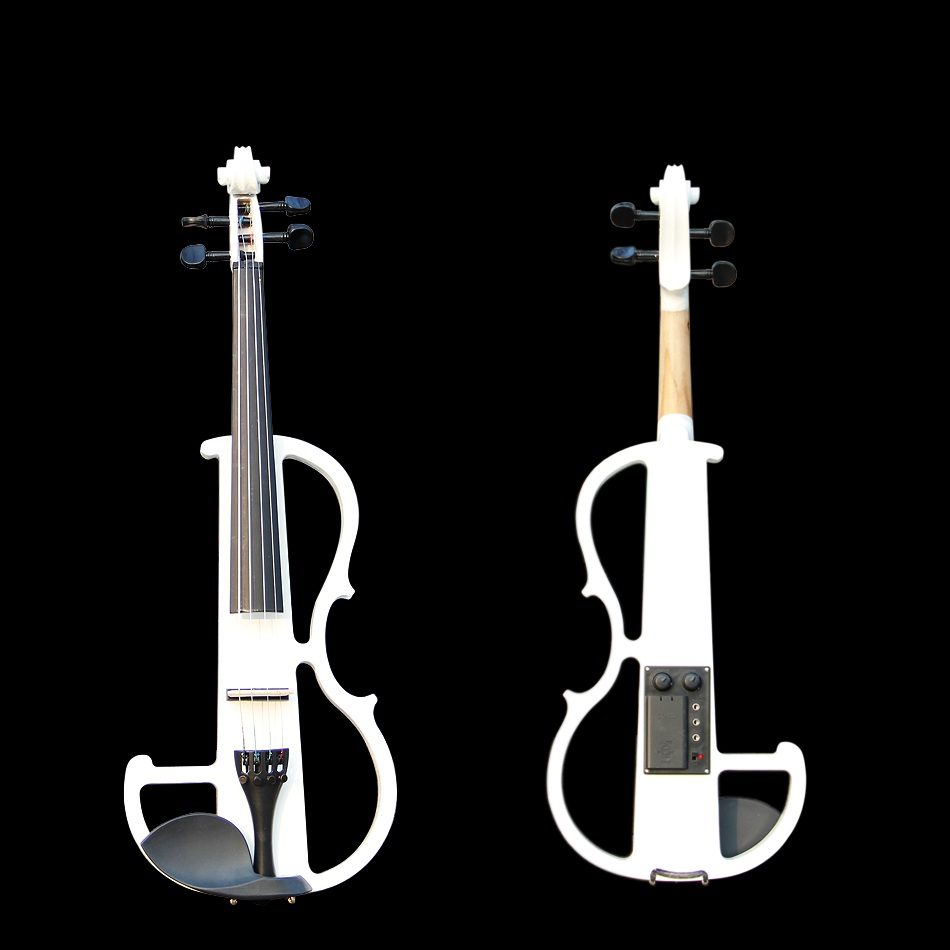 4/4 Violin Classic White Electric Violin with Violin Case and Violin Bow Excellent Tone Quality Made in China free shipping high quality 4 4 violin send violin hard case handmade white black electric violin with power lines