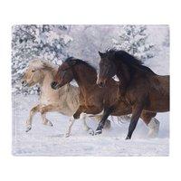 Caballos Corriendo En La Nieve Suave Fleece Throw Blanket Súper Cálida Lana Suave Tiro en el Sofá/Cama
