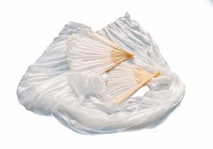 Image 5 - Hot Selling 100% Silk Unisex High Quality Chinese Silk Veil Dance Fans 1Pair Belly Dance Fans Hot Sale Pure White Color 180*90cm