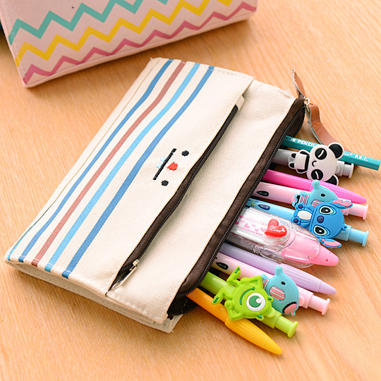 Large Capacity Canvas Pencil Simple Pencil Cases Middle School Girls