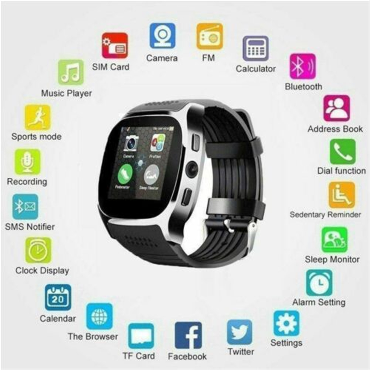 2019 New T8 Sports Smart Watch LBS Tracker Android Wear Bluetooth Pedometer Motherboard 60D Camera SIM Phone Mate Android iOS