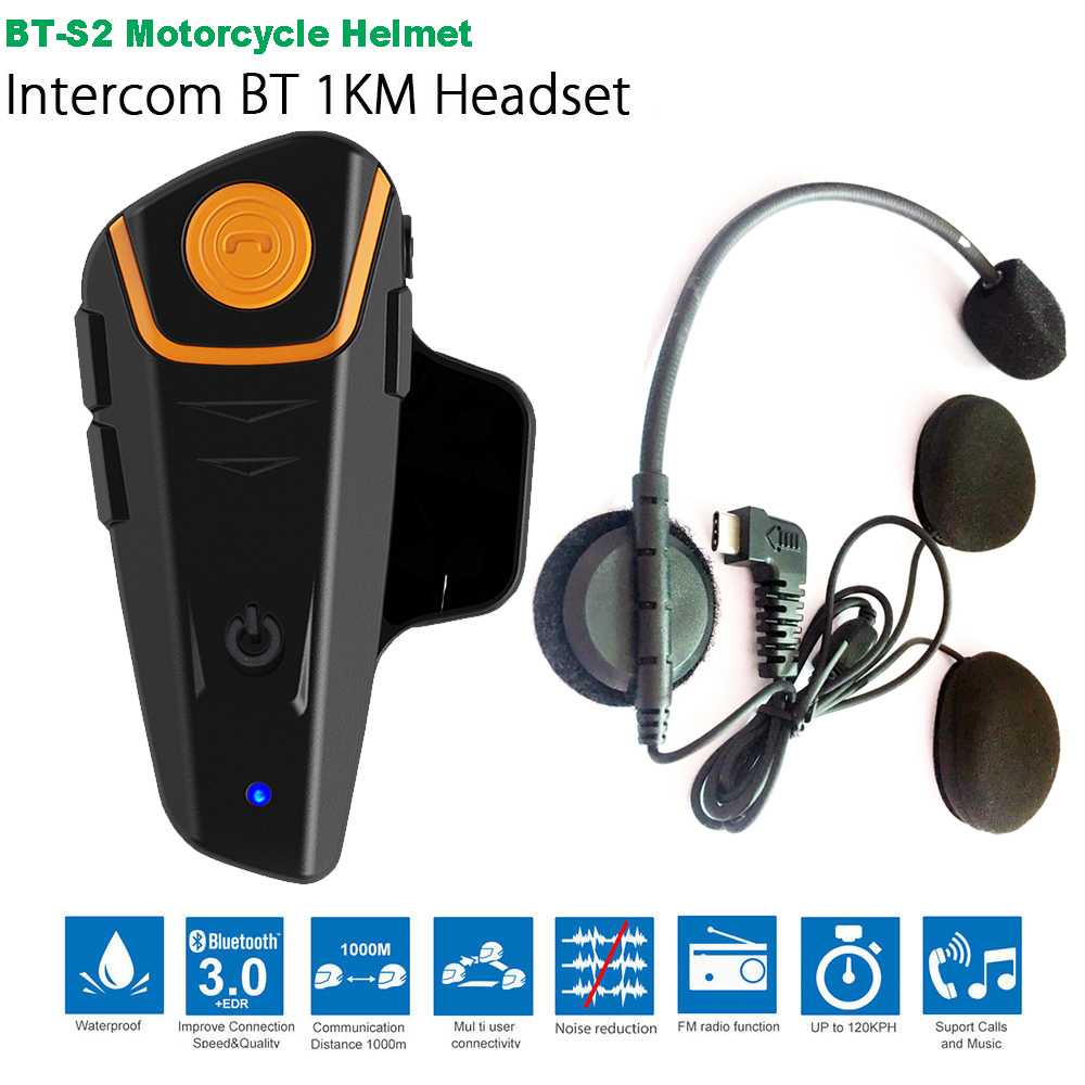 Waterproof BT S2 Multi BT Interphone 1000M Motorcycle Bluetooth Helmet Intercom Intercomunicador Moto Interfones Headset FM