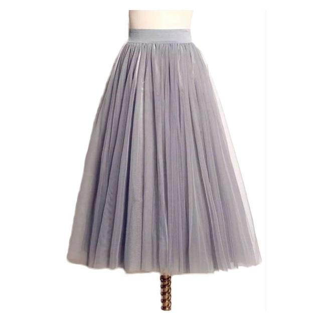 8f1750077 3 Layers With Liner Tulle Skirts Women Summer High Waist Ladies Long Puff  Mesh Skirt Girl Maxi Pleated Skirt midi Faldas Faldas