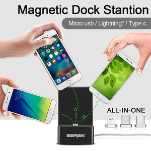 Image 2 - GARAS Magnetic Dock Station For iPhone/Micro USB/Type C Magnet connector Charger Dock Station For Iphone/Android USB Desktop