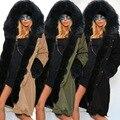 Novo Grande Capuz De Pele De Guaxinim Mulheres Jaqueta de Inverno Parka Casaco de Pele Real Natural para As Mulheres Grosso Forro Macio