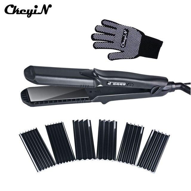 ストレートヘアアイロン & コーンワイド波長板 4 スタイル互換髪ヘアアイロン段ボールフラットアイアン髪カーラースタイラー Tool48