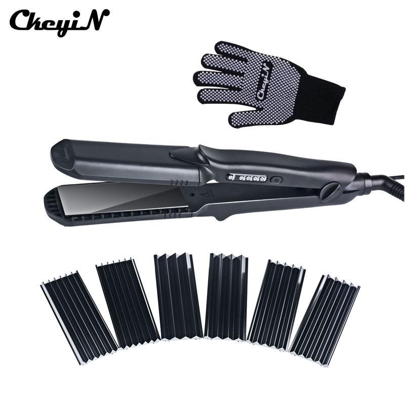 Håretang & Majsbredbølgeplade 4-stil udskifteligt hår Curling iron Bølgede fladjern Hair Curler styler Tool48