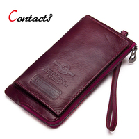 Contact's luxury women wallet genuine leather wallet female clutch coin purse card holder phone money bag long ladies wallet red