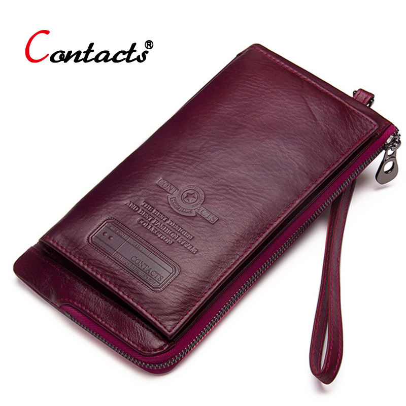 Contacts luxury women wallet genuine leather wallet female clutch coin purse card holder phone money bag long ladies wallet redContacts luxury women wallet genuine leather wallet female clutch coin purse card holder phone money bag long ladies wallet red