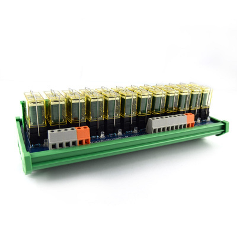 12-way relay dual-group module, 24V rail mounting, PLC amplifier board control board 16 way intermediate relay module plc expansion board belt guide rail high or low trigger 5 12 24v optional