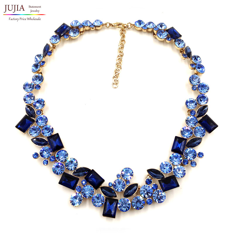 2017 top quality Z full crystal Fashion Necklace choker collar bib crystal statement necklace for women