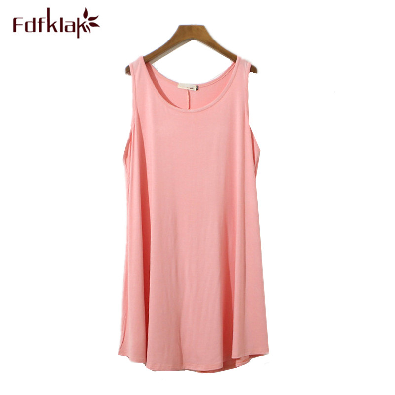 Fdfklak Night Dress Women Sleeveless Sexy Nightwear Short Summer Nightdress Cotton Women's Nightgown Plus Size Nightshirt L-3XL