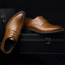 Shoes men large size 37-48 wear-resistant lncrease dress shoes men's spring/autumn leather shoes brand formal shoes zapatos