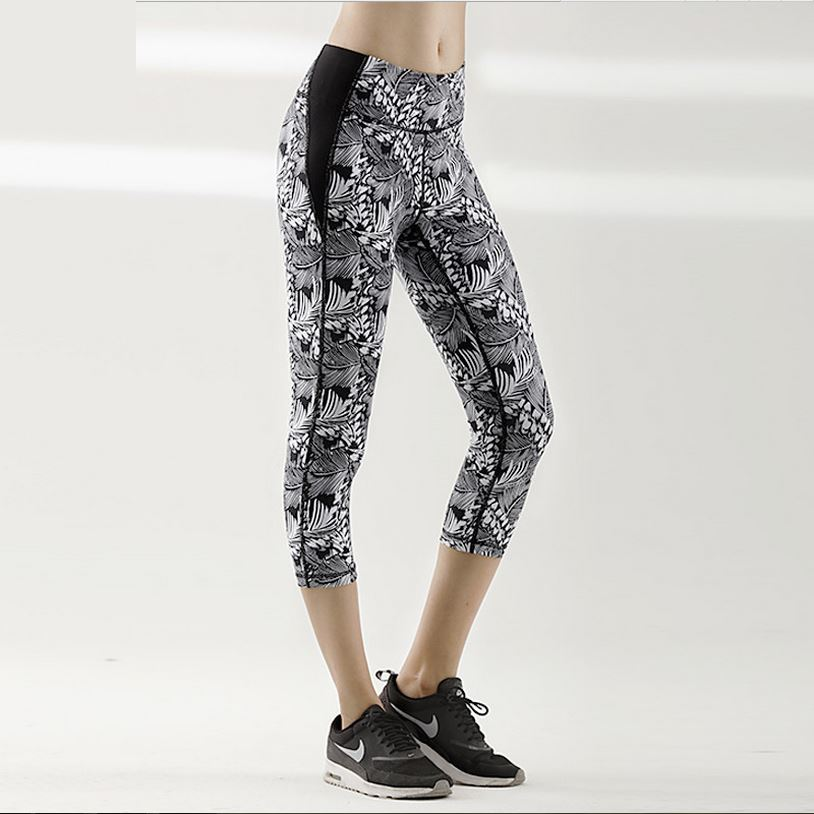 Sex Womens Stretched Print Capri Spandex Comfortable Gym Fitness Sports Leggings Slim Yoga Pants Running stretch cropped pants