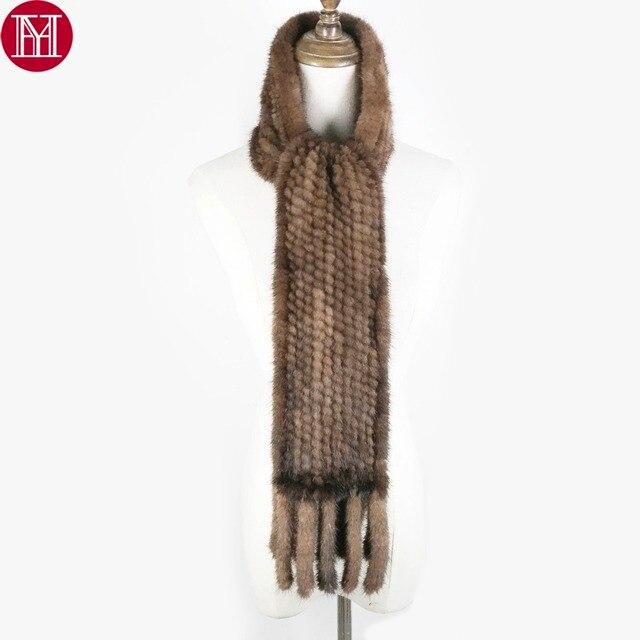 Vrouwen Real Mink Fur Sjaal 100% Echte Echte Mink Fur Uitlaat Goede Kwaliteit Groothandel En Detailhandel 2020 Echte Nerts Bont gebreide Sjaals