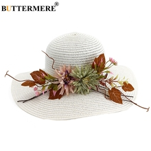 BUTTERMERE White Sun Hat Girl Straw Female With Flower Leaves Solid Fashion Beach Wide Brim Anti-uv Summer Women Outdoor