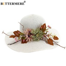 BUTTERMERE Bianco Cappello Da Sole Della Ragazza Cappello di Paglia Femminile Con Il Fiore Foglie di Modo Solido Beach Largo del Bordo Anti-Uv Del Cappello di Estate Delle Donne outdoor(China)