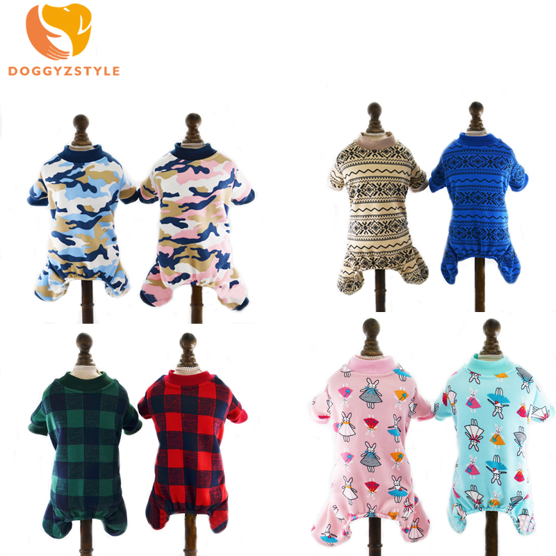 Pet Cat Dog Clothes Warm Fleece Dog Jumpsuit Plaid Suit Hoodies for Small Dogs Cats Autumn and Winter Puppy Outfits DOGGYZSTYLE