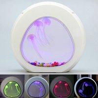 LED Colorful Jellyfish Fish Tank Aquarium Lighting Color Changing Night Lamp Aquarium Light Desk Mini Fish Tank USB