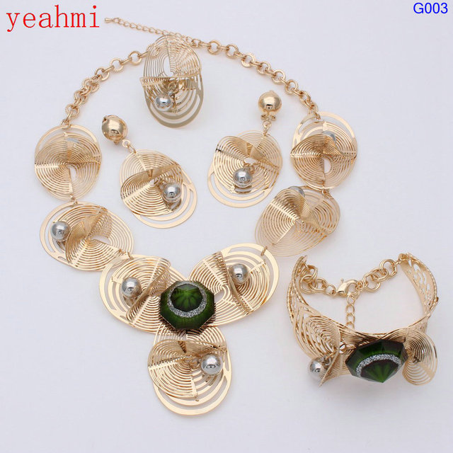 New Italy Fashion Costume Jewellery African Women Big Necklace Bracelet Rings Earrings Set Dubai Gold Platin & New Italy Fashion Costume Jewellery African Women Big Necklace ...