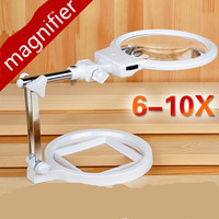 6 10 Times The Desktop Maintenance Magnifier For Reading Elderly Students With Led Lamp Maintenance Of