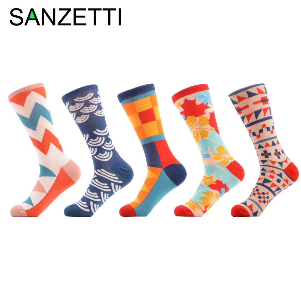SANZETTI 5 pair/lot Mens Bright Colorful Printing Maple Leaf Argyle Long Cotton Socks party funny happy socks