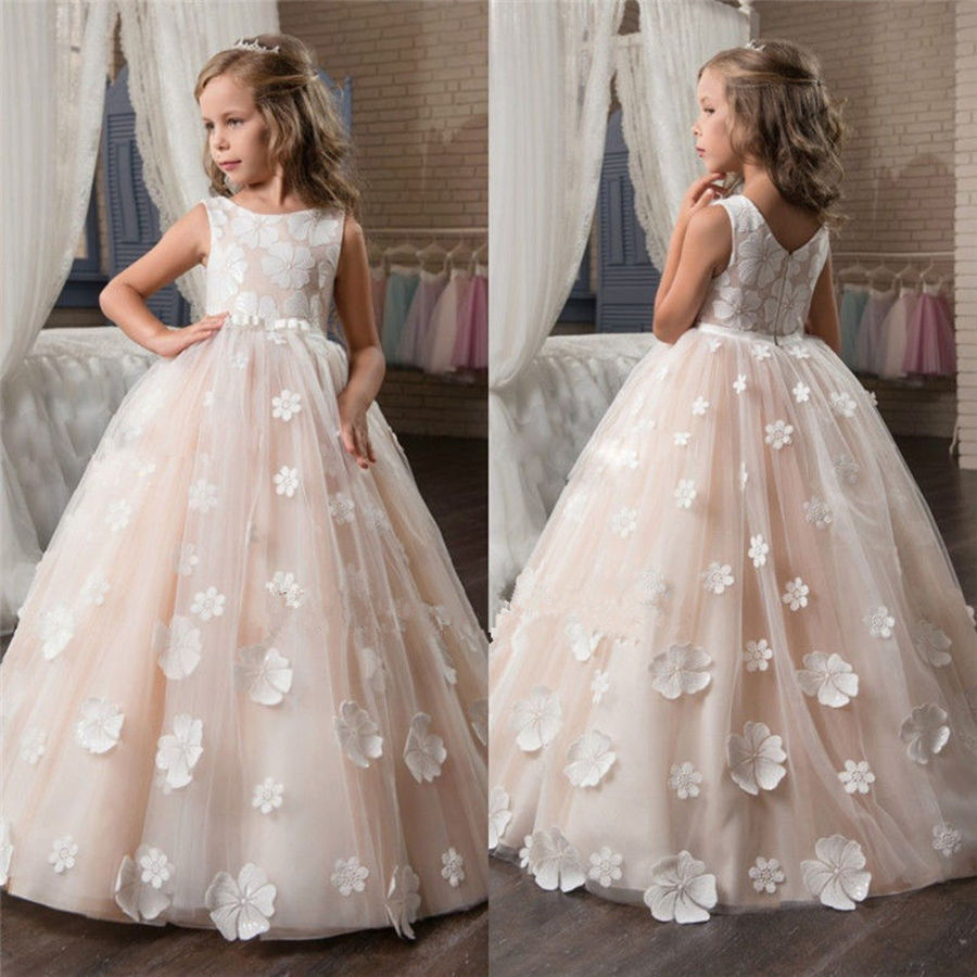 New   flowers   Kids Pageant Evening Gowns 2018 Lace Ball Gown   Flower     Girl     Dresses   For Weddings First Communion   Dresses   For   Girls