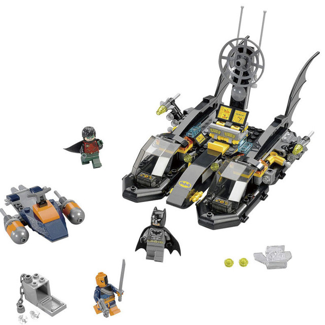 Superman batman chariot decool super heroes el puerto batboat búsqueda de bloques de construcción de juguete modelo compatible legoe