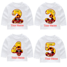Cuphead Boy\Girl Print Cotton Birthday Number Long Sleeve T-shirts Childrens Fall Tops Baby Girl Harajuku Clothes