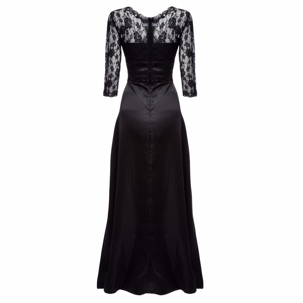Elegant Little Black Women Maxi Long Dress Sexy Robe Femme Tunic Floral Lace Night Evening Party Dresses Pleated Mesh Vestidos 11