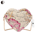 BH490 New Fashion Brand Design Women Brand Design Messenger Bags Heart Shape Lovely World Map Printed Ladies Handbag Mini Bags