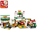 Sluban Model building kits compatible with . city gas station 845 3D blocks Educational toys hobbies for children