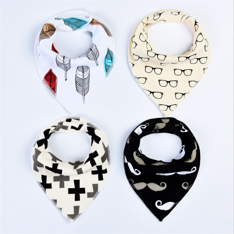 4Pcs/Lot Baby Bibs Different Styles Cotton Soft Kids Toddler Triangle Scarf Bib Cool Accessories Infant Saliva Towel