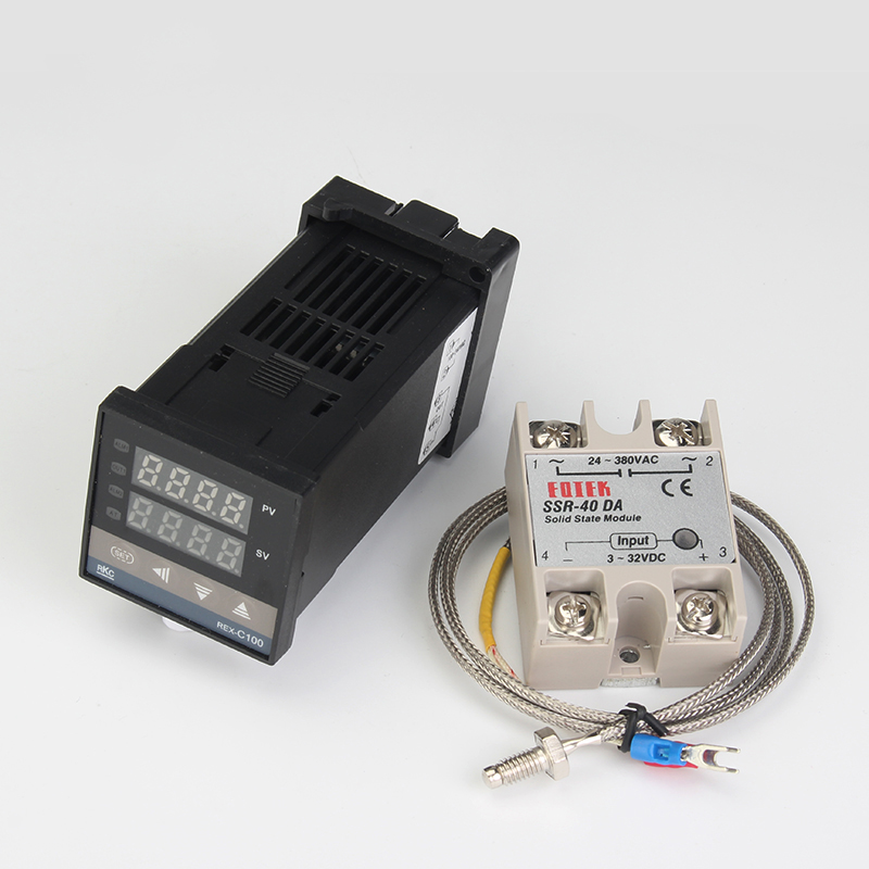 REX-C100 Digital PID Temperature Controller Thermostat SSR output Max.40A SSR Relay K Thermocouple Probe High Quality RKC